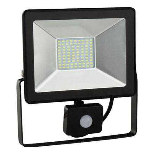 LED Bouwlamp - Schijnwerper BSE met Bewegingssensor 30W 6400K Helder/Koud Wit 225.5x240mm IP65 Water
