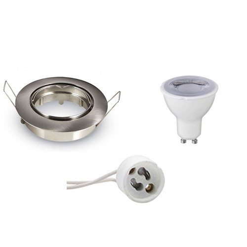 LED Spot Set - GU10 Fitting - Dimbaar - Inbouw Rond - Mat Chroom - 6W - Warm Wit 3000K - Kantelbaar