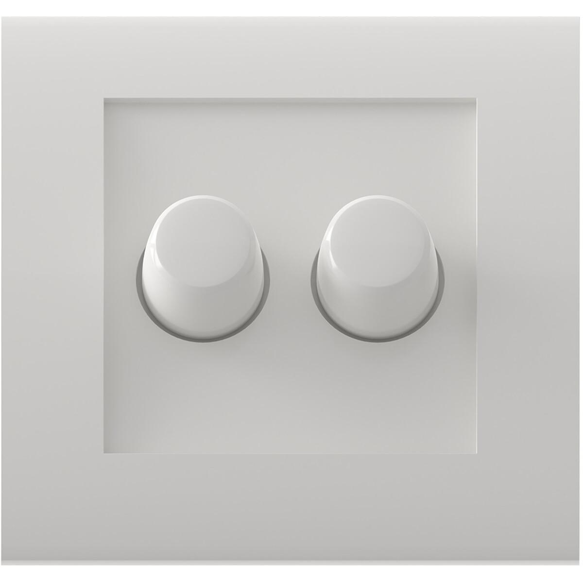 CALEX - Afdekplaat LED DUO Dimmer - Dubbel Knop - Wit