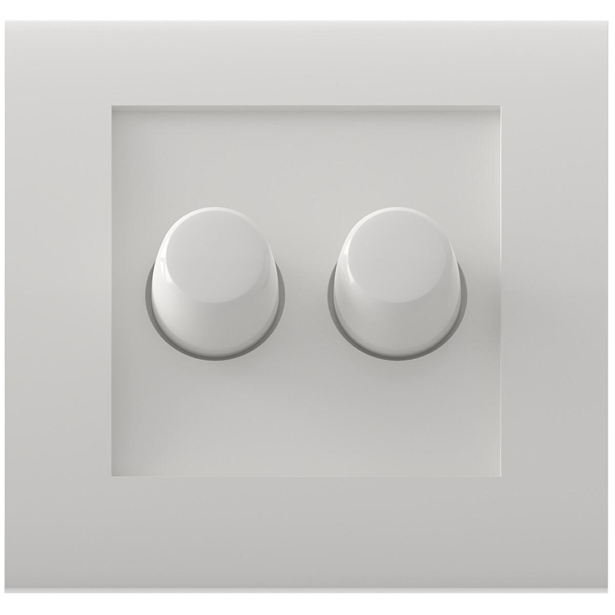 CALEX - LED DUO Dimmer - Dubbele Inbouwdimmer - Dubbel Knop - 3-70W - Incl. Afdekraam - Wit