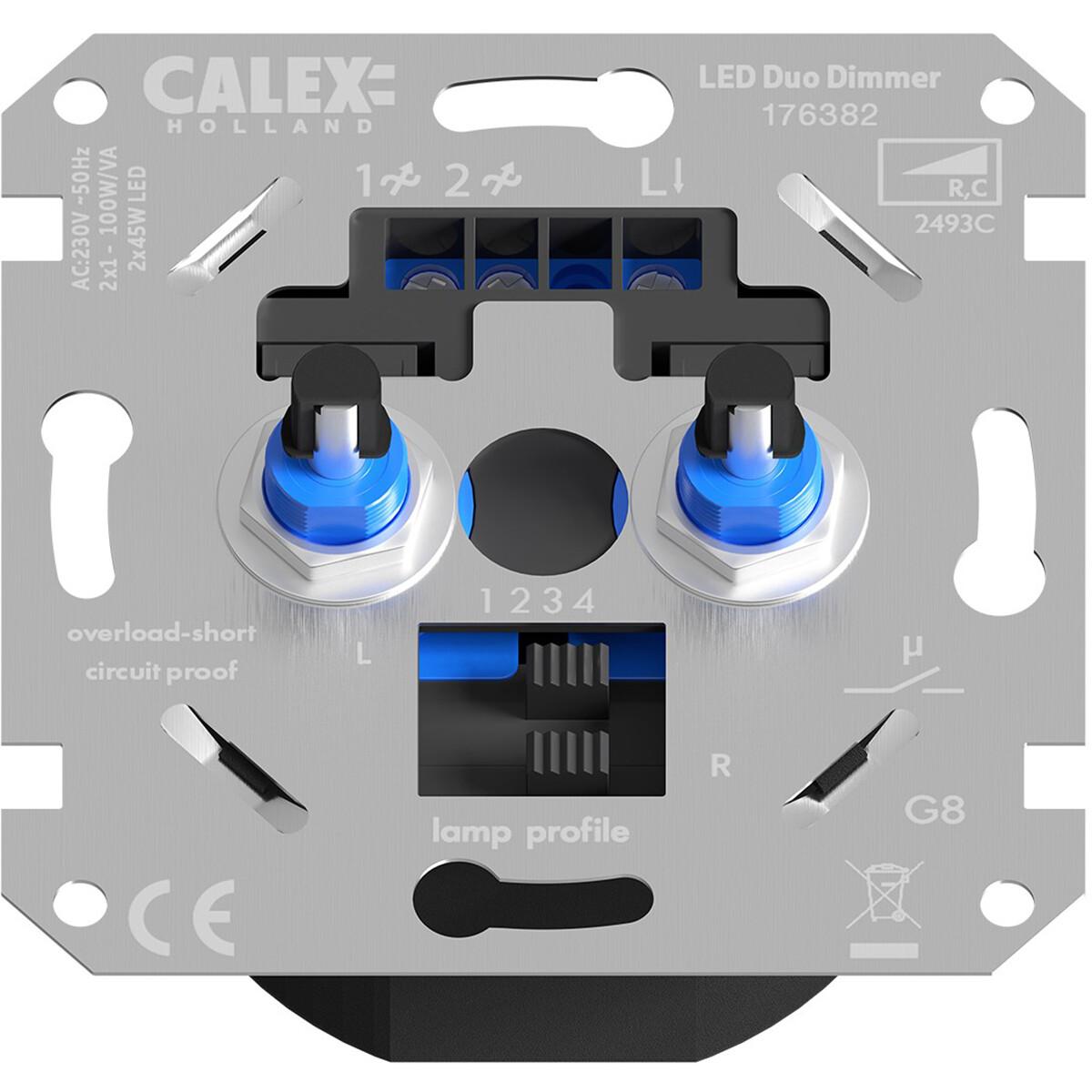 CALEX - LED DUO Dimmer - Dubbele Inbouwdimmer - Dubbel Knop - 3-70W