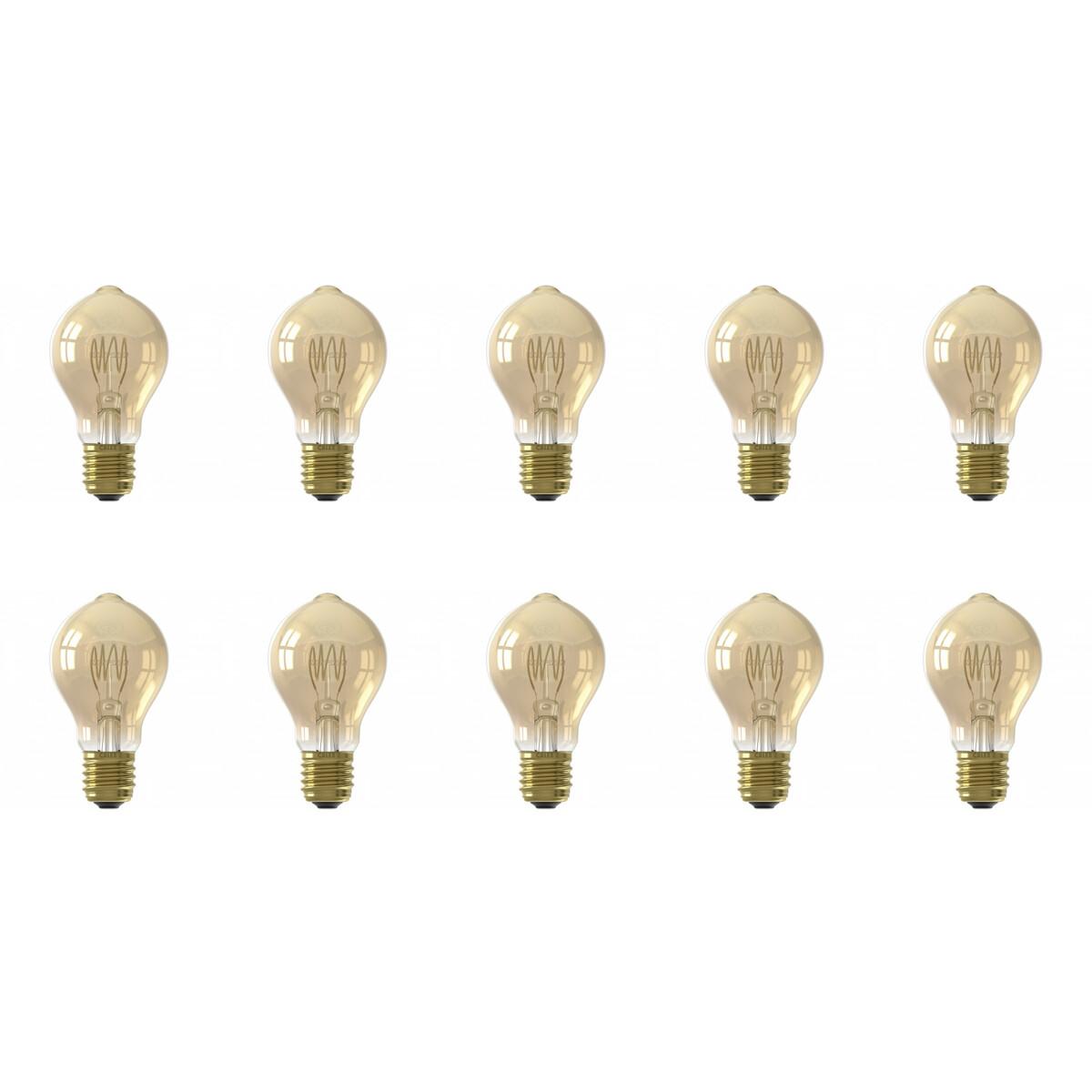 CALEX - LED Lamp 10 Pack - Filament A60 - E27 Fitting - Dimbaar - 4W - Warm Wit 2100K - Amber