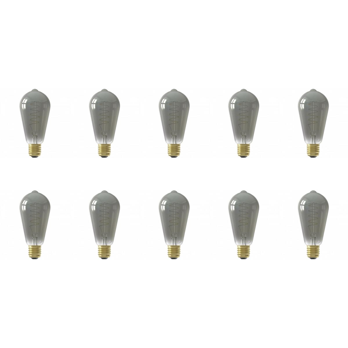 CALEX - LED Lamp 10 Pack - Filament ST64 - E27 Fitting - Dimbaar - 4W - Warm Wit 2100K - Titanium