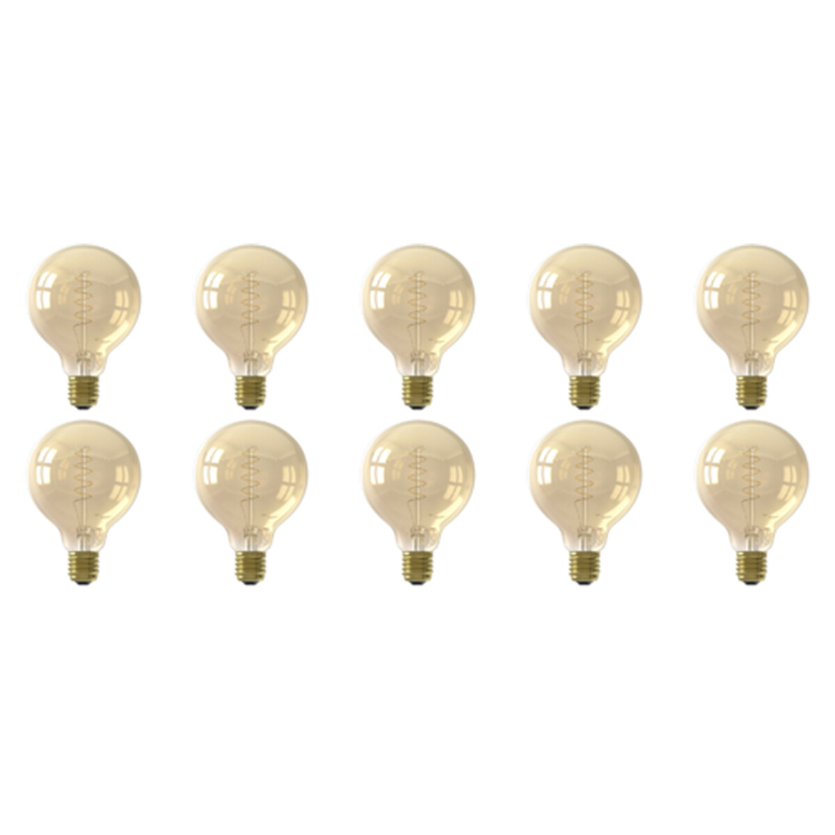 CALEX - LED Lamp 10 Pack - Globe - Filament G95 - E27 Fitting - Dimbaar - 4W - Warm Wit 2100K - Ambe