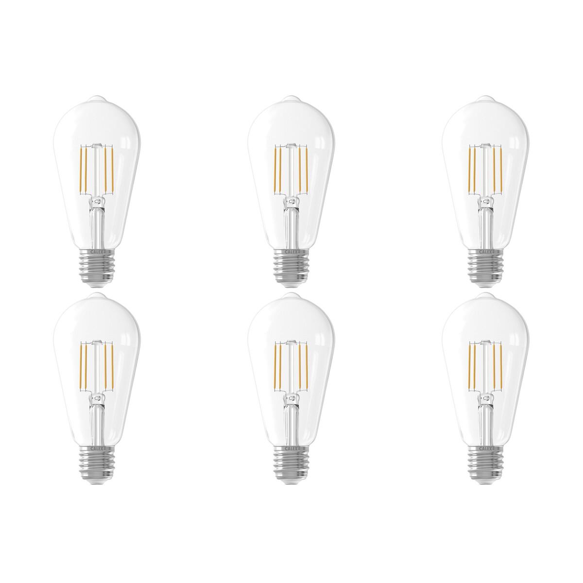 CALEX - LED Lamp 6 Pack - Filament ST64 - E27 Fitting - 6W - Warm Wit 2700K - Transparant Helder