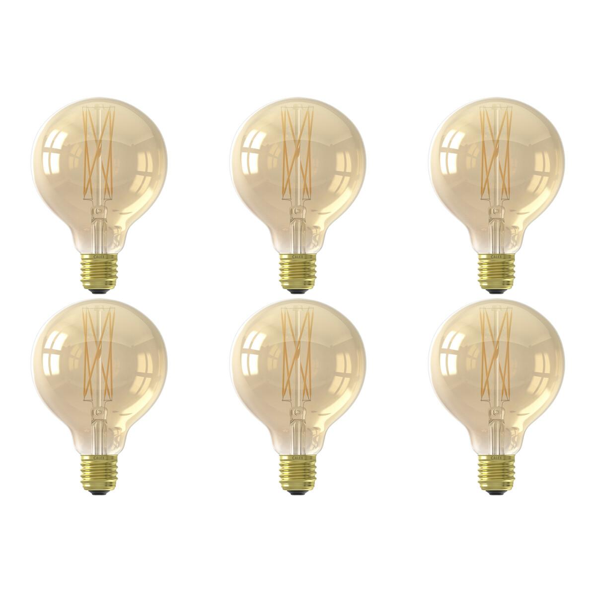 CALEX - LED Lamp 6 Pack - Globe - Filament G95 - E27 Fitting - Dimbaar - 4W - Warm Wit 2100K - Goud