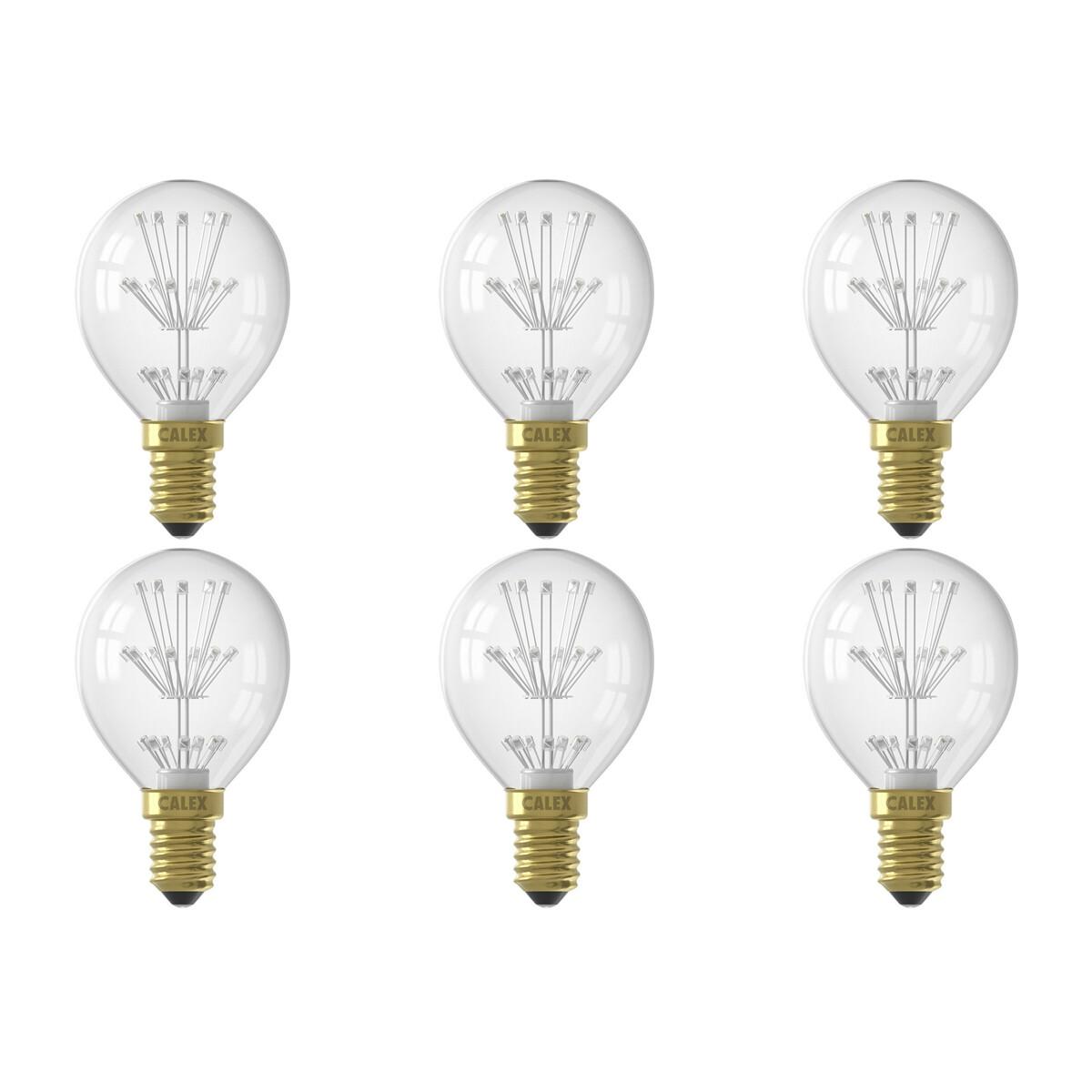 CALEX - LED Lamp 6 Pack - Kogellamp P45 - E14 Fitting - 1W - Warm Wit 2100K - Transparant Helder