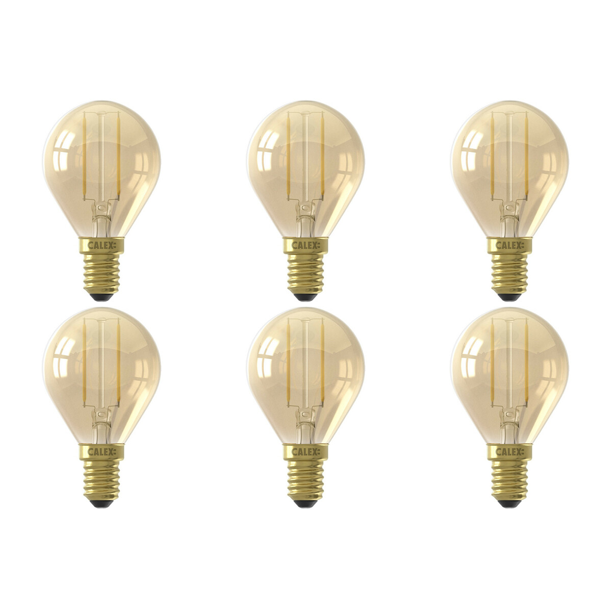 CALEX - LED Lamp 6 Pack - Kogellamp P45 - E14 Fitting - 2W - Warm Wit 2100K - Goud