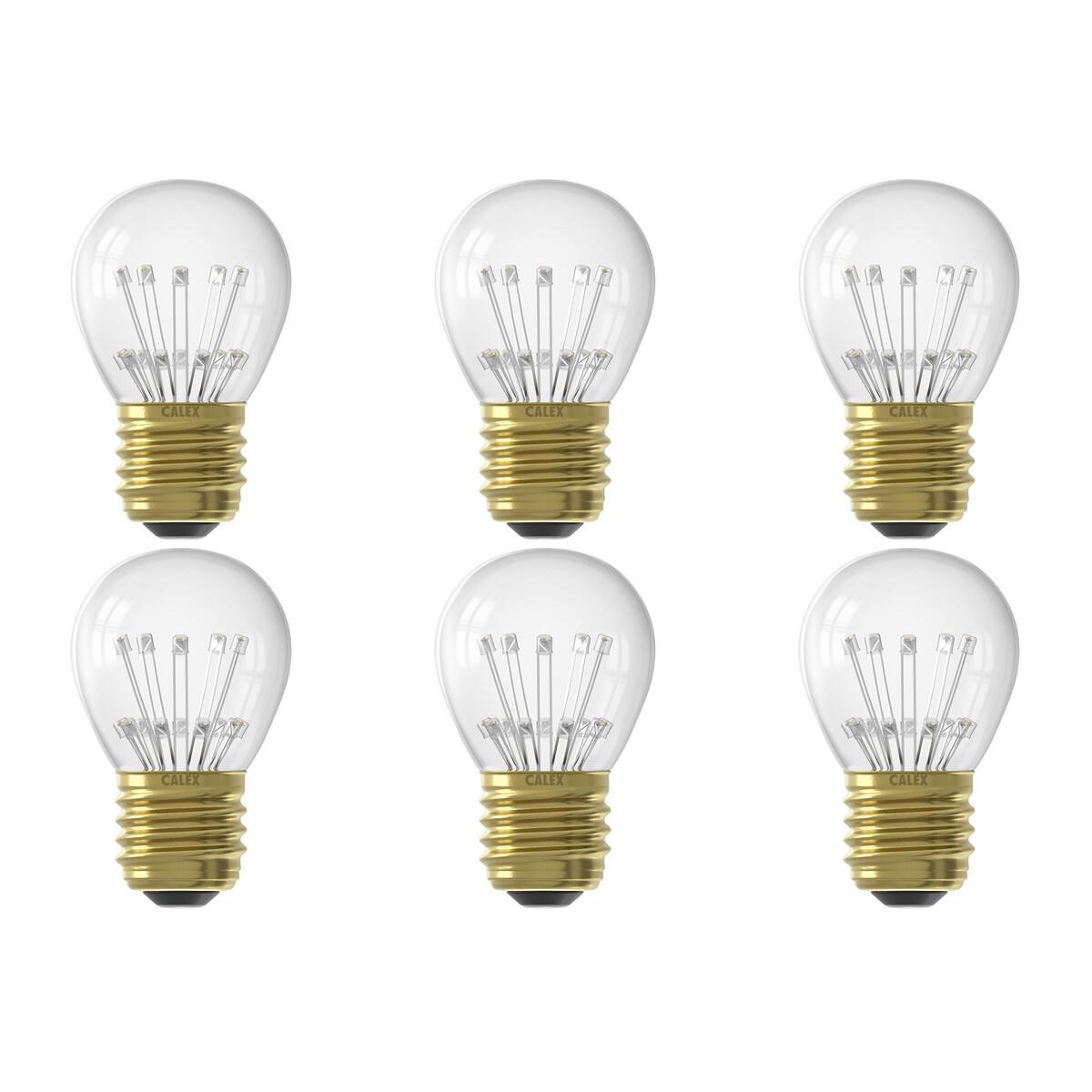 CALEX - LED Lamp 6 Pack - Kogellamp P45 - E27 Fitting - 1W - Warm Wit 2100K - Transparant Helder