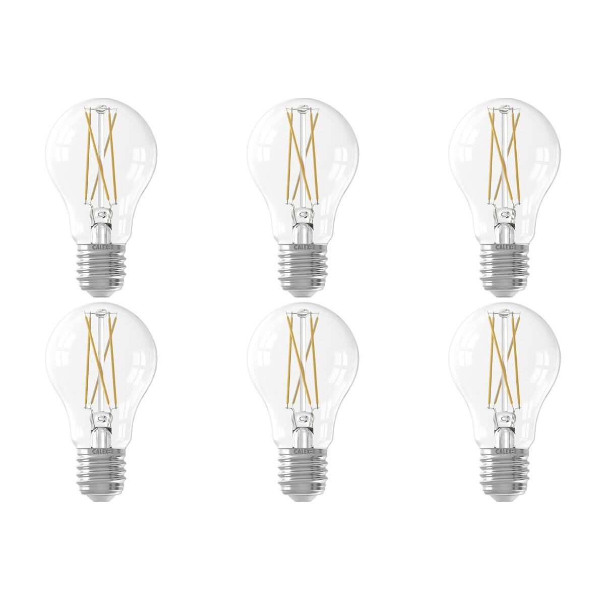 CALEX - LED Lamp 6 Pack - Smart LED A60 - E27 Fitting - Dimbaar - 7W - Aanpasbare Kleur CCT - Transp