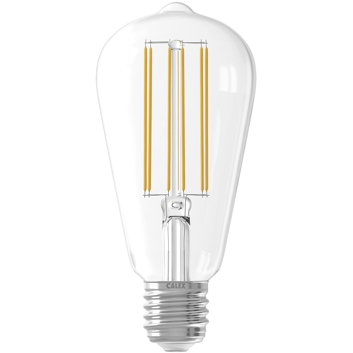 CALEX - LED Lamp - Filament ST64 - E27 Fitting - Dimbaar - 4W - Warm Wit 2300K - Transparant Helder