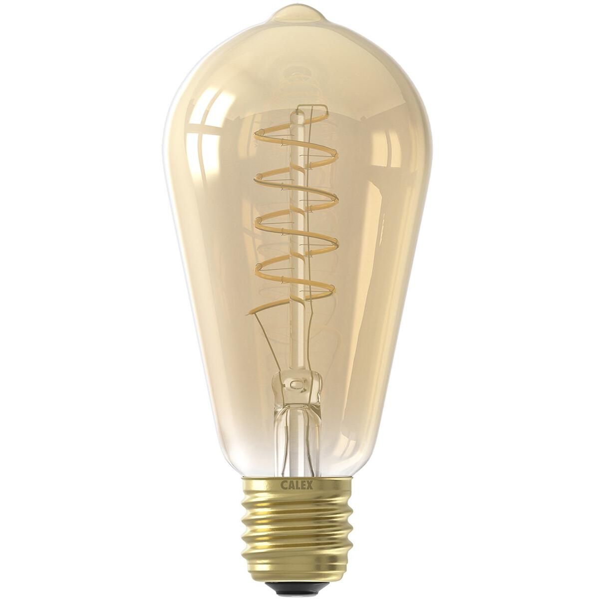 CALEX - LED Lamp - Filament ST64 - E27 Fitting - Dimbaar - 4W - Warm Wit 2100K - Amber
