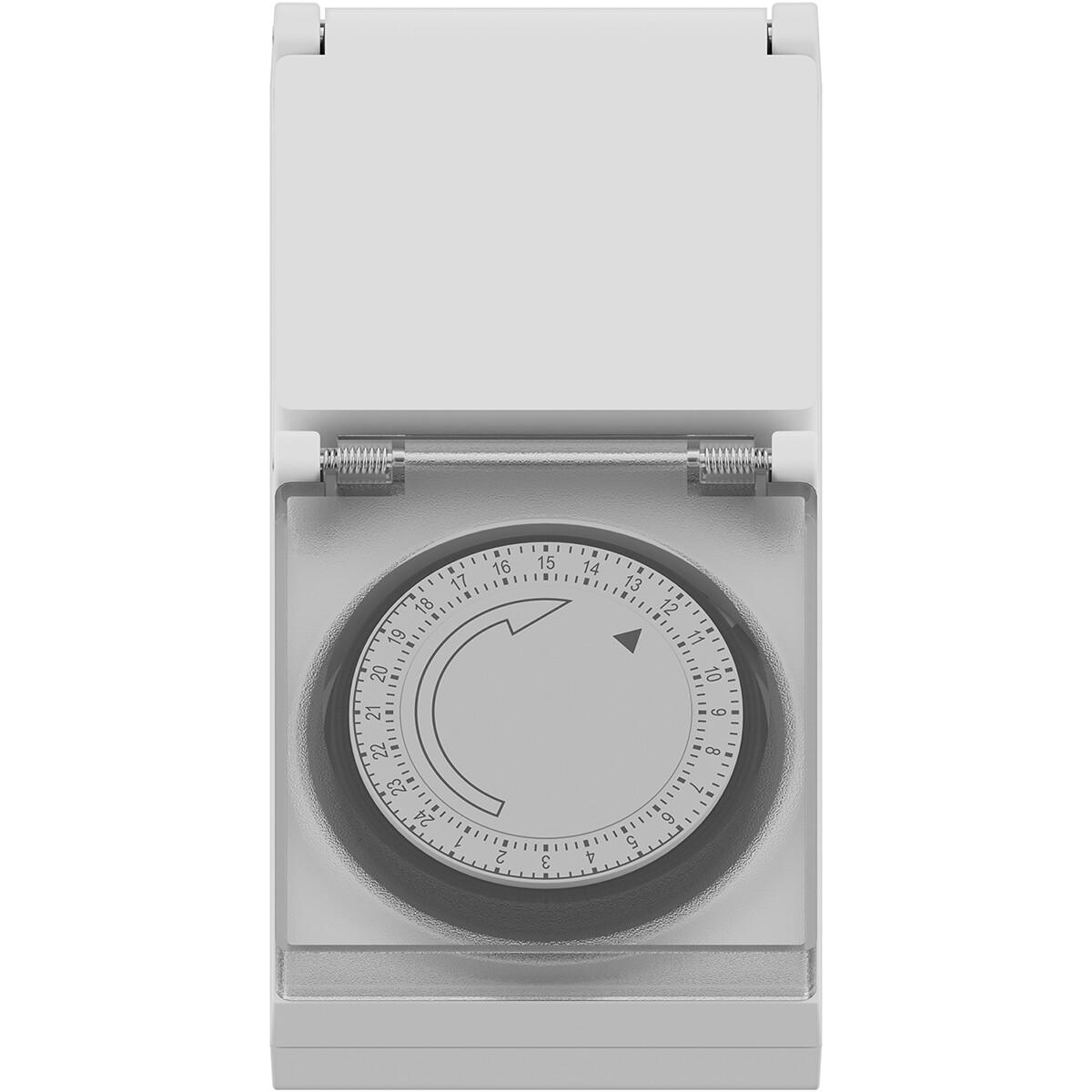 CALEX - Tijdschakelaar - Wandcontactdoos - Analoge Schakelklok - Spatwaterdicht IP44 - Wit