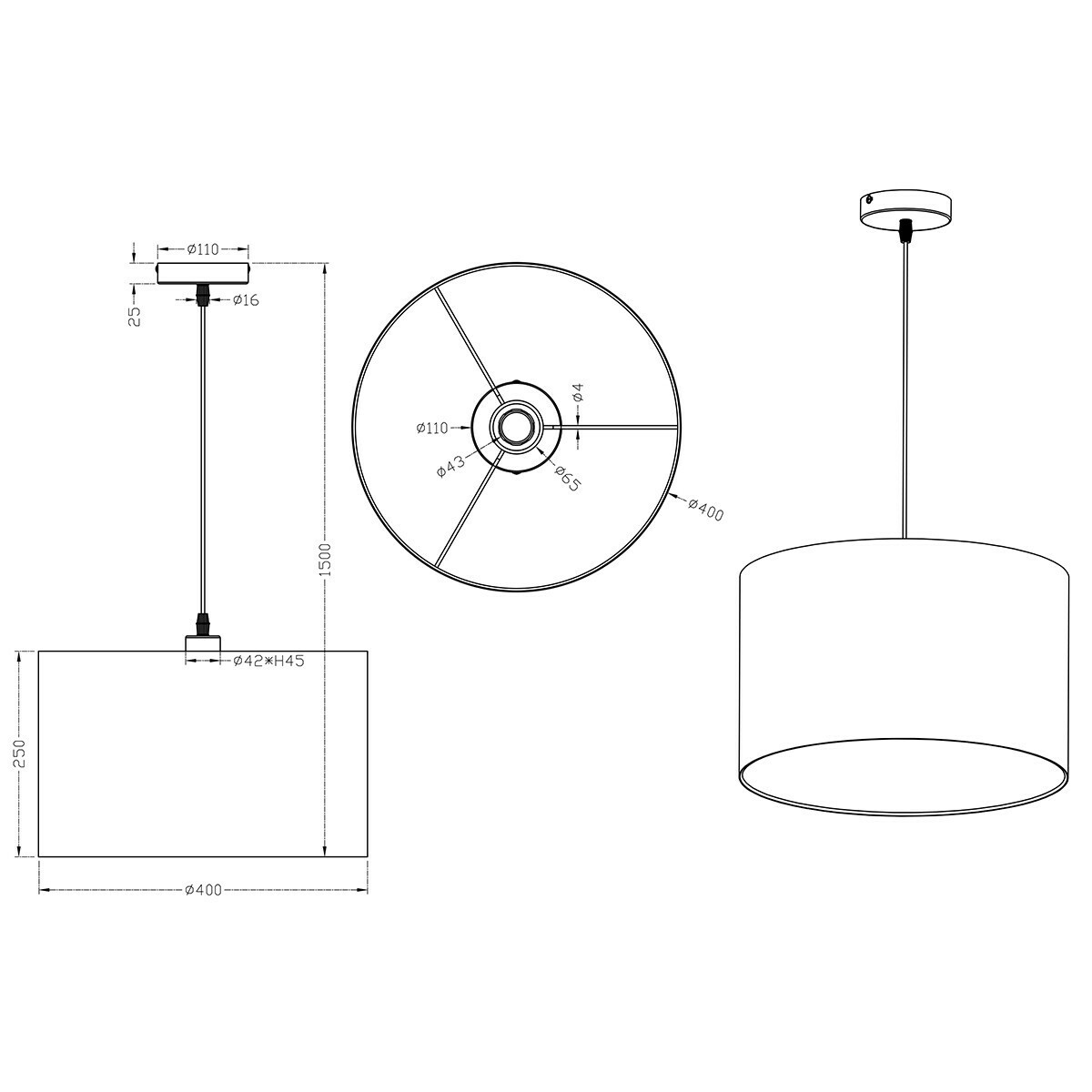 LED Hanglamp Hangverlichting Trion Hotia E27 Fitting Rond Mat Bruin Aluminium