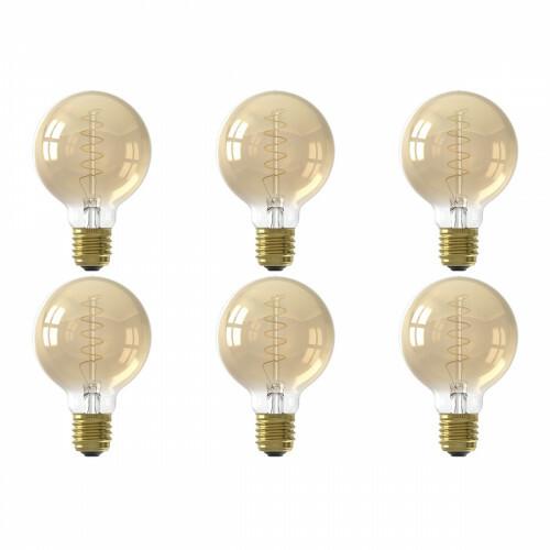 CALEX - LED Lamp 6 Pack - Globe - Filament G80 - E27 Fitting - Dimbaar - 4W - Warm Wit 2100K - Goud