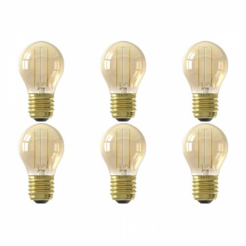CALEX - LED Lamp 6 Pack - Kogellamp P45 - E27 Fitting - 2W - Warm Wit 2100K - Goud