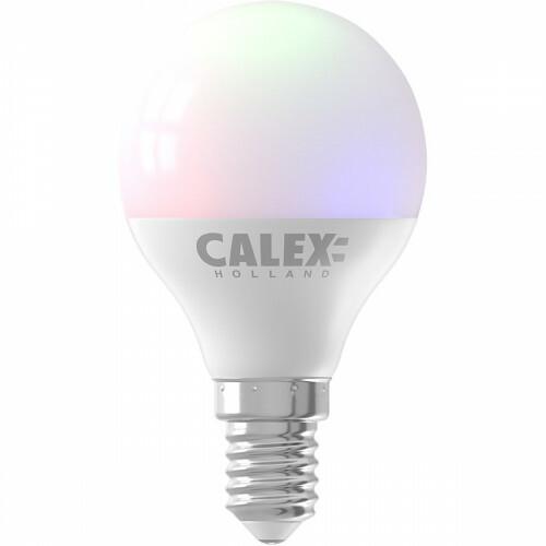 CALEX - LED Lamp - Smart Kogellamp - E14 Fitting - Dimbaar - 5W - Aanpasbare Kleur CCT - RGB - Mat Wit