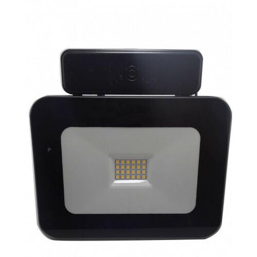 LED Bouwlamp - Facto - 20 Watt met sensor - LED Schijnwerper - Dimbaar - Natuurlijk Wit 4000K - Waterdicht IP65