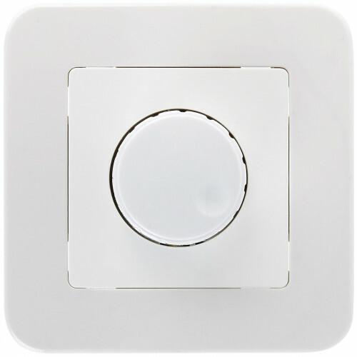 LED Dimmer - 230V - Inbouw Enkel Knop - 1-300W - Incl. Afdekraam - Wit