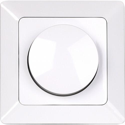LED Dimmer - Aigi - Inbouw - Enkel Knop - 3-60W - Incl. Afdekraam - Wit