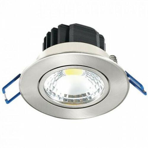 LED Spot - Inbouwspot - Lila - Rond 5W - Warm Wit 2700K - Mat Chroom Aluminium - Kantelbaar Ø83mm