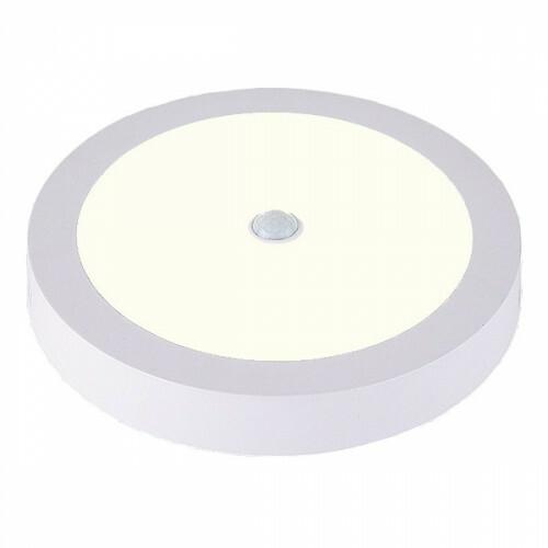 LED Downlight - Facto - PIR Bewegingssensor 360° - Opbouw Rond 20W UGR19 - Natuurlijk Wit 4000K - Mat Wit Aluminium - Ø225mm