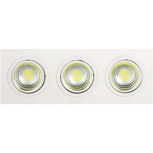 LED Spot - Inbouwspot 3-lichts - Rechthoek 15W - Helder/Koud Wit 6400K - Mat Wit Aluminium - Kantelbaar 255x93mm