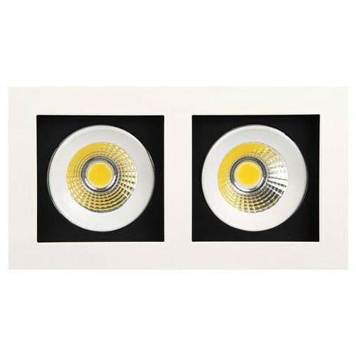 LED Spot - Inbouwspot Dubbel - Rechthoek 16W - Helder/Koud Wit 6400K - Mat Wit Aluminium - Kantelbaar 185x100mm