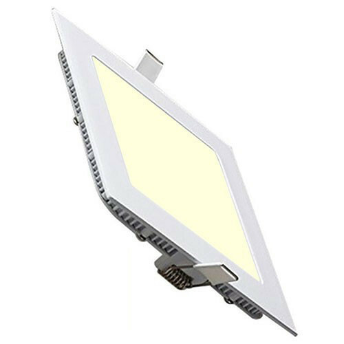 LED Downlight Slim - Inbouw Vierkant 6W - Warm Wit 2700K - Mat Wit Aluminium - 113.5mm