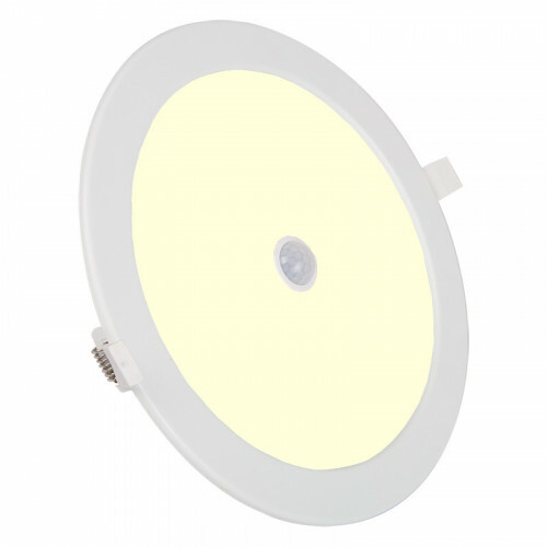 LED Downlight Slim - Aigi - PIR Bewegingssensor 360° - Inbouw Rond 24W - Warm Wit 3000K - Mat Wit - Ø240mm