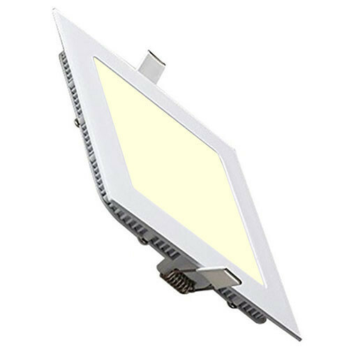 LED Downlight Slim - Inbouw Vierkant 15W - Warm Wit 2700K - Mat Wit Aluminium - 195mm