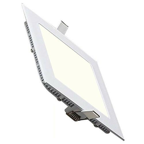 LED Downlight Slim - Inbouw Vierkant 15W - Natuurlijk Wit 4200K - Mat Wit Aluminium - 195mm