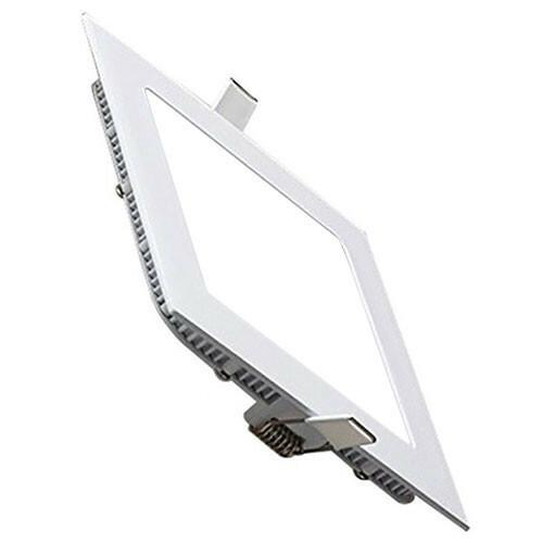 LED Downlight Slim - Inbouw Vierkant 15W - Helder/Koud Wit 6400K - Mat Wit Aluminium - 195mm
