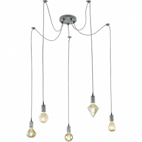 LED Hanglamp - Hangverlichting - Trion Cardino - E27 Fitting - 5-lichts - Rond - Antiek Grijs - Aluminium