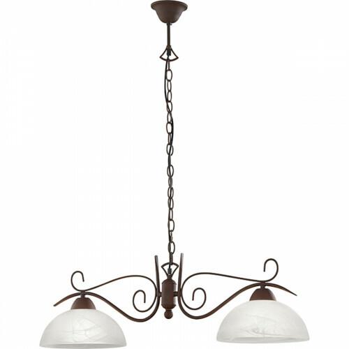 LED Hanglamp - Hangverlichting - Trion Kantra - E27 Fitting - 2-lichts - Rond - Roestkleur - Aluminium