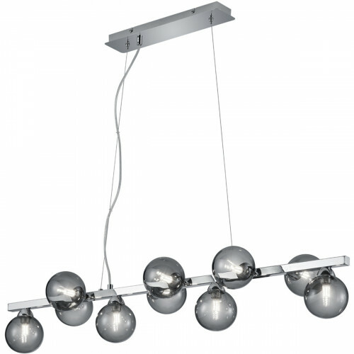 LED Hanglamp - Trion Alionisa - G9 Fitting - 10-lichts - Rechthoek - Glans Chroom Rookglas - Aluminium