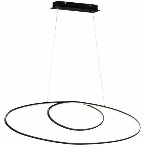 LED Hanglamp - Trion Avinus - 35W - Warm Wit 3000K - Dimbaar - Ovaal - Mat Zwart - Aluminium