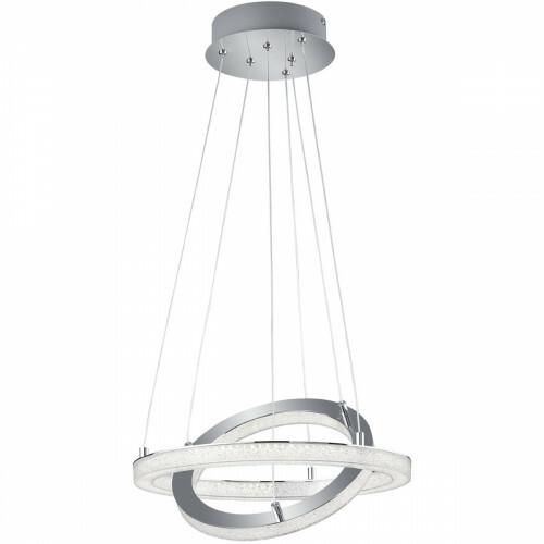 LED Hanglamp - Trion Chilo - 32W - Warm Wit 3000K - Dimbaar - Rond - Mat Chroom - Aluminium