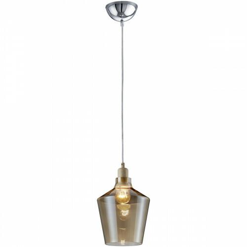 LED Hanglamp - Trion Colia - E27 Fitting - Rond - Glans Chroom Houtkleur - Aluminium
