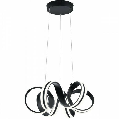 LED Hanglamp - Trion Katra - 38W - Warm Wit 3000K - Dimbaar - Rond - Mat Zwart - Aluminium