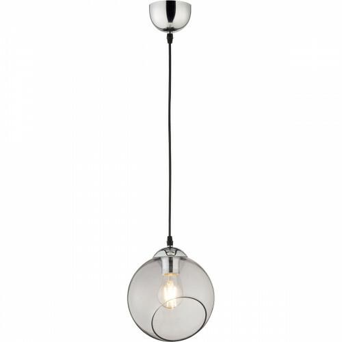 LED Hanglamp - Trion Klino - E27 Fitting - 1-lichts - Rond - Mat Chroom Rookkleur - Aluminium