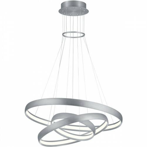 LED Hanglamp - Trion Macy - 64W - Warm Wit 3000K - Dimbaar - Rond - Mat Chroom - Aluminium