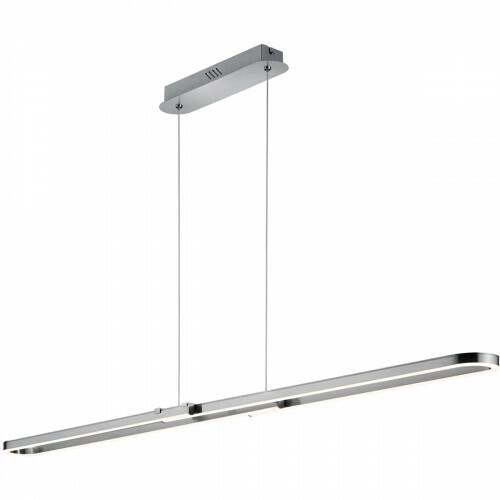 LED Hanglamp - Trion Romeo - 37W - Warm Wit 3000K - Dimbaar - Rechthoek - Mat Nikkel - Aluminium