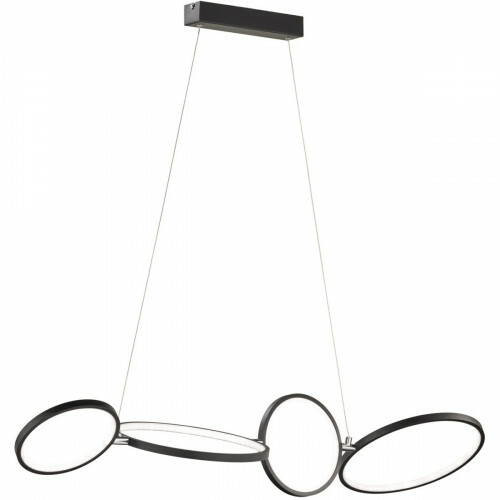 LED Hanglamp - Trion Rondy - 37W - Warm Wit 3000K - Rechthoek - Mat Zwart - Aluminium