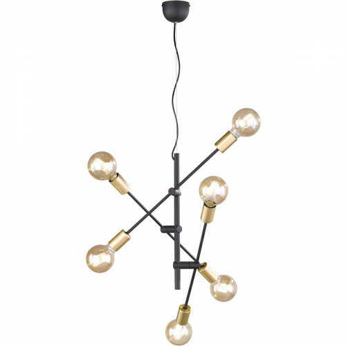 LED Hanglamp - Trion Ross - E27 Fitting - 6-lichts - Rond - Mat Goud - Aluminium