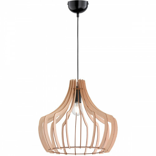 LED Hanglamp - Trion Wody - E27 Fitting - Rond/Ovaal - Mat Lichtbruin Hout