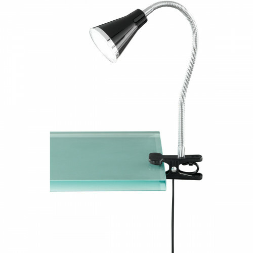 LED Klemlamp - Trion Arora - 3W - Warm Wit 3000K - Glans Zwart - Kunststof