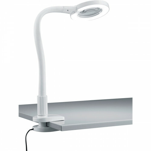 LED Klemlamp - Trion Lumpa - 5W - Warm Wit 3500K - Vergrootglas - Glans Wit - Kunststof
