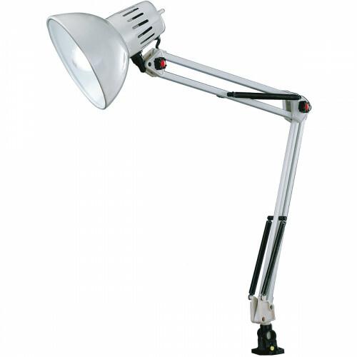 LED Klemlamp - Trion Tajin - E27 Fitting - Glans Wit - Aluminium