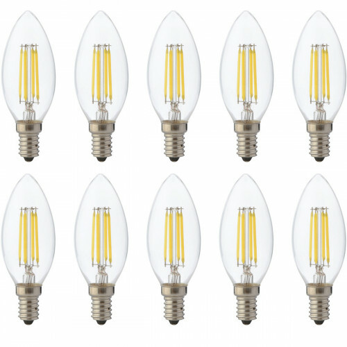 LED Lamp 10 Pack - Kaarslamp - Filament - E14 Fitting - 4W Dimbaar - Warm Wit 2700K